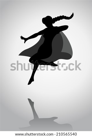 Silhouette of a female figure with superhero suit - stock vector