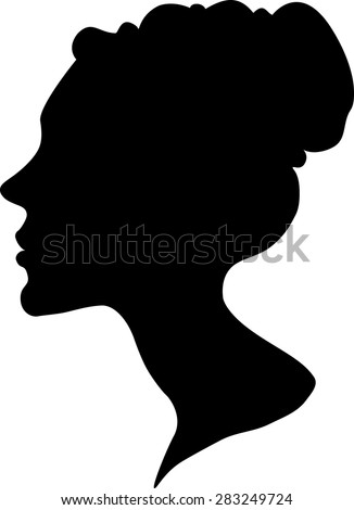 silhouette of a female head and face with fine hair