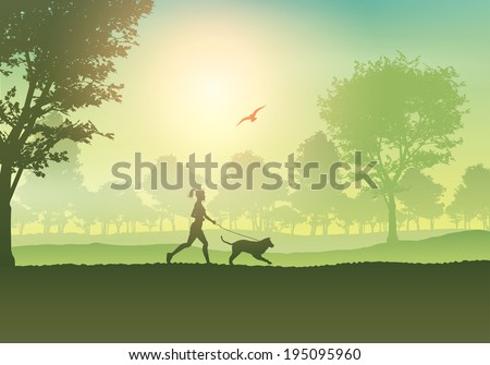 Silhouette of a female jogging with her dog in the countryside - stock vector
