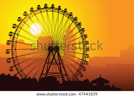 Silhouette of a ferris wheel at sunset - stock vector