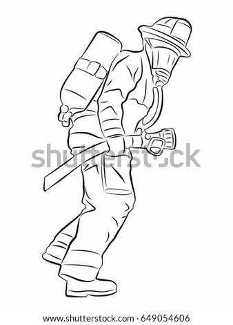 silhouette of a fireman with a fire hose black and white drawing white background