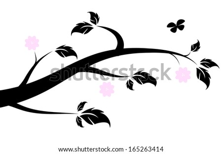 Silhouette of a flowering spring branch with a butterfly. - stock vector