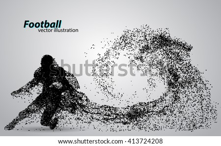 silhouette of a football player from particle. Background and text on a separate layer, color can be changed in one click - stock vector