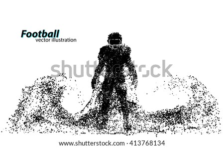 silhouette of a football player from particle. Text on a separate layer, color can be changed in one click - stock vector