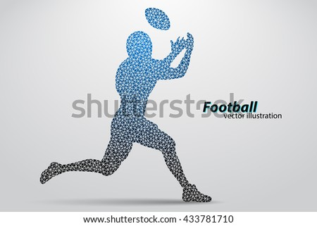 silhouette of a football player from triangle. Background and text on a separate layer, color can be changed in one click. Rugby. American football