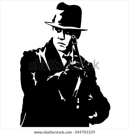 Silhouette of a gangster with a gun in hand on white background vector