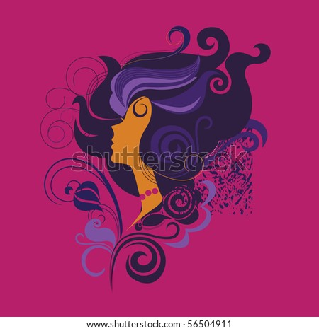 silhouette of a girl in profile1 - stock vector