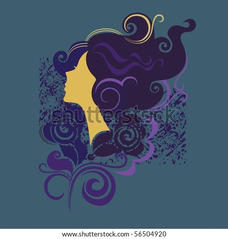 silhouette of a girl in profile3 - stock vector
