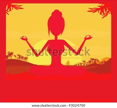 Silhouette of a Girl in Yoga pose on Summer background with palm tree - stock vector