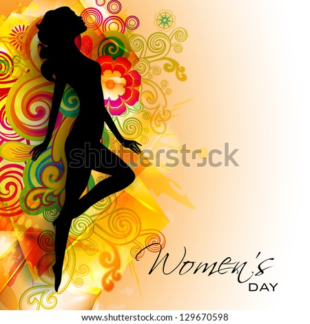 Silhouette of a girl on colorful floral decorated background for Happy Women's Day. - stock vector