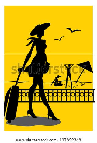 Silhouette of a girl who goes to the beach promenade - stock vector