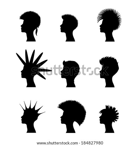 silhouette of a girl with a set of punk hairstyles - stock vector