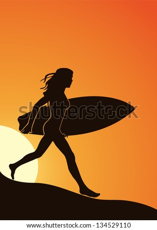 Silhouette of a girl with a surfboard on the beach in a vector format - stock vector
