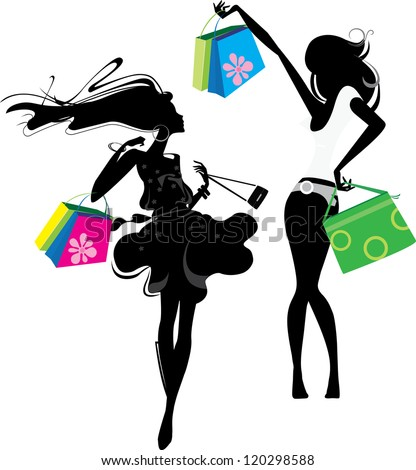 silhouette of a girl  with bags - stock vector