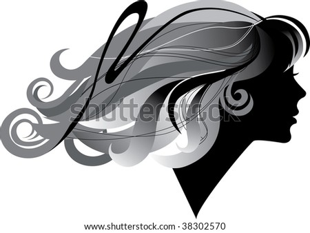 silhouette  of a girl with windblown long hair in profile - stock vector