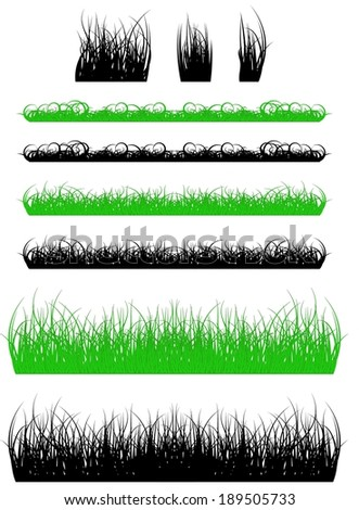 silhouette of a grass, black and green vector