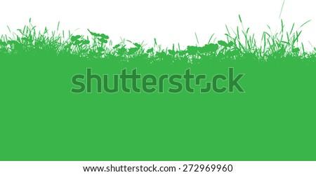 Silhouette of a grassy landscape  - stock vector