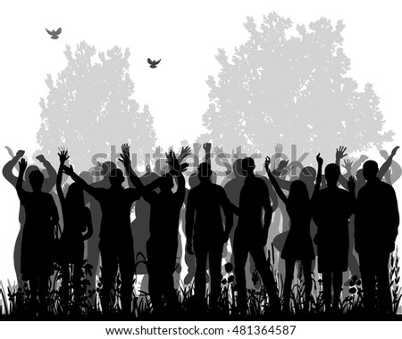 silhouette of a group of dancing people, nature, vector