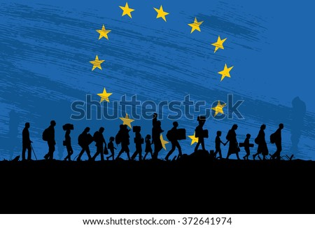 Silhouette of a group of refugees walking with flag of Europe as a background - stock vector
