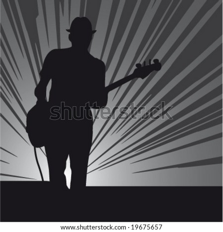 Silhouette of a guitar player on a stage - stock vector