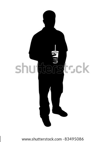 Silhouette of a guy with a drink. - stock vector