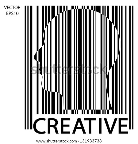 Silhouette of a head with bar code , the concept of business icon,business symbol,business man,vector
