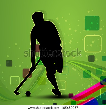 Silhouette of a hockey player with hockey stick and ball on colorful green abstract wave background. EPS 10.