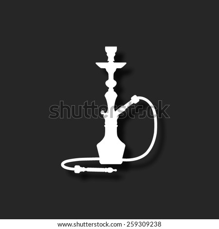 silhouette of a hookah  - vector icon with shadow - stock vector