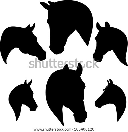 silhouette of a horse's head - stock vector
