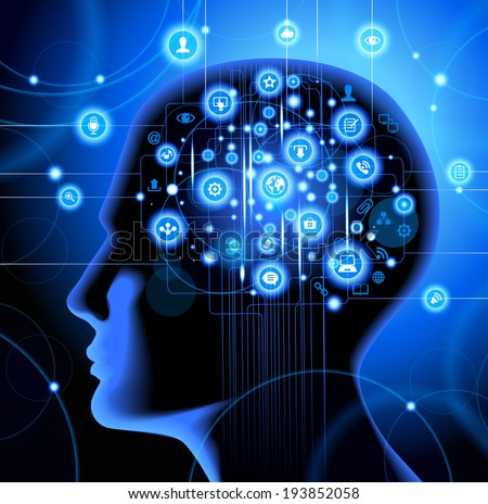 Silhouette of a human head with gears in place of the brain. Above his head is a lot of icons.  Social network, communication in the global computer networks. - stock vector