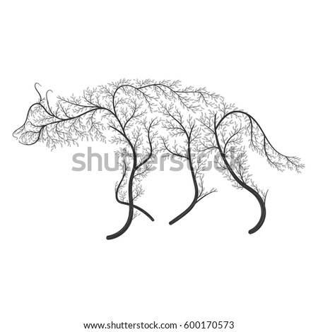 silhouette of a hyena stylized by bushes on a white background for use as logos