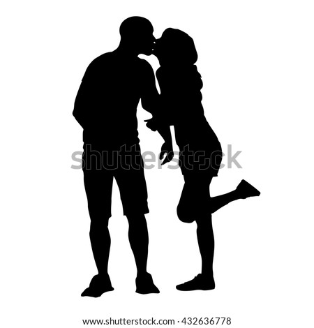 Silhouette of a kissing couple. Kiss the girls and boys. Vector illustration.