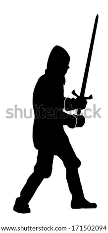 silhouette of a knight on white background