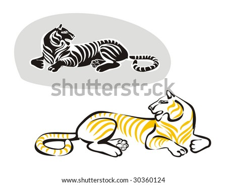 Silhouette of a laying tiger - stock vector