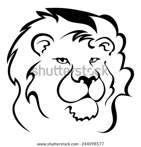 Silhouette of a lion's head. Symbol of the greatness and pride. Logo. Vector illustration.