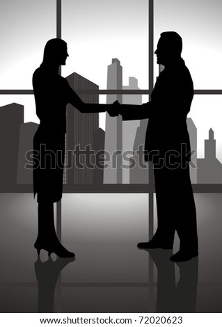 Silhouette of a male and female figure shaking hand - stock vector