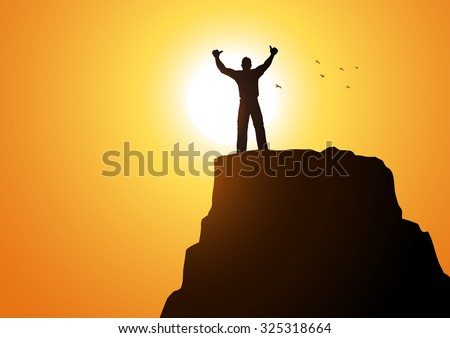 Silhouette of a male figure on top of a mountain - stock vector
