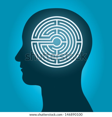 silhouette of a male head with a labyrinth inside conceptual of the complexity of the human brain - stock vector