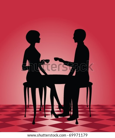 silhouette of a man and woman at a cafe - stock vector