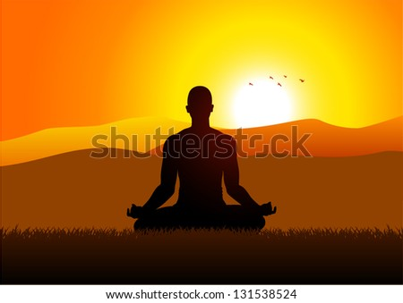 Silhouette of a man figure meditating in the outdoors - stock vector