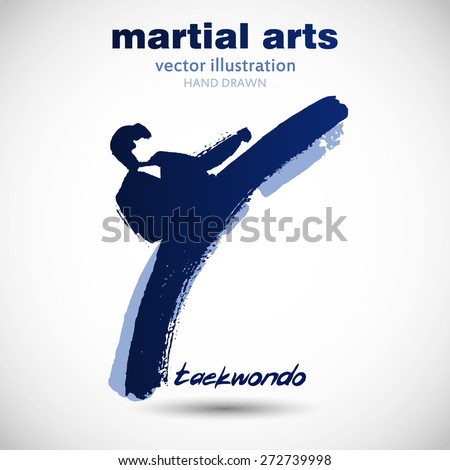 Silhouette of a man in the front karate, taekwondo, martial arts. In the style of eastern painting. Designed for sports events, competitions, tournaments, vector illustrations. - stock vector