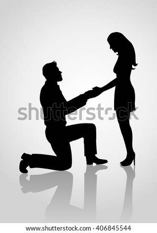Silhouette of a man kneeling down and holding the hand of a standing woman.