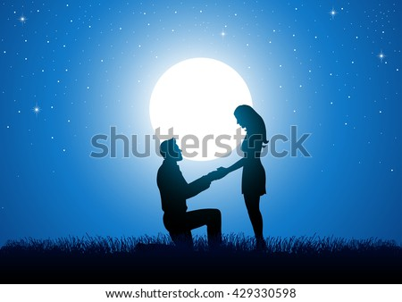 Silhouette of a man kneeling down and holding the hand of a standing woman against beautiful starry night and full moon. - stock vector