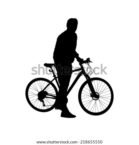Silhouette of a man on a bicycle