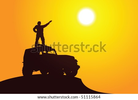 Silhouette of a man on the car - stock vector