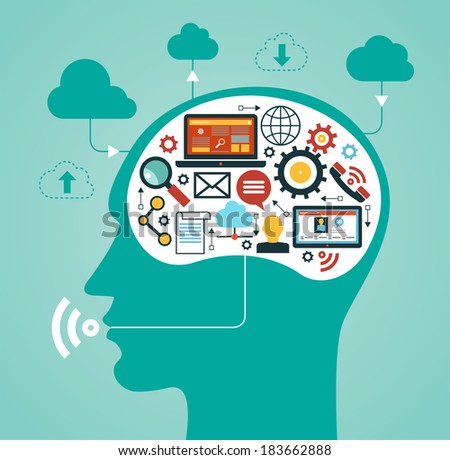 silhouette of a man's head with a  network icons. Concept of communication in the network - stock vector