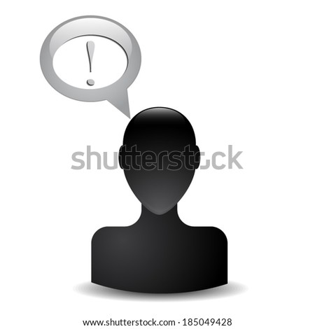silhouette of a man's head with an exclamation - stock vector