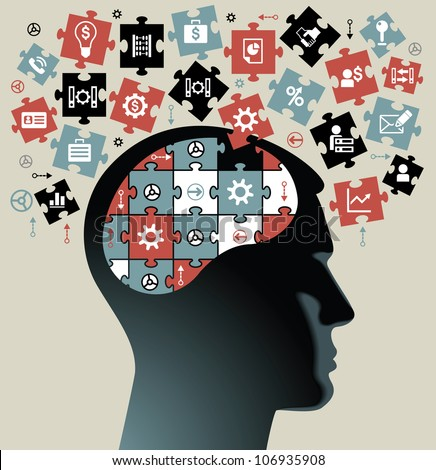 silhouette of a man's head with the brain of the puzzles and business icons. the concept of the information movement in modern business. - stock vector