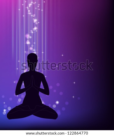 Silhouette of a man sitting in a lotus pose. - stock vector