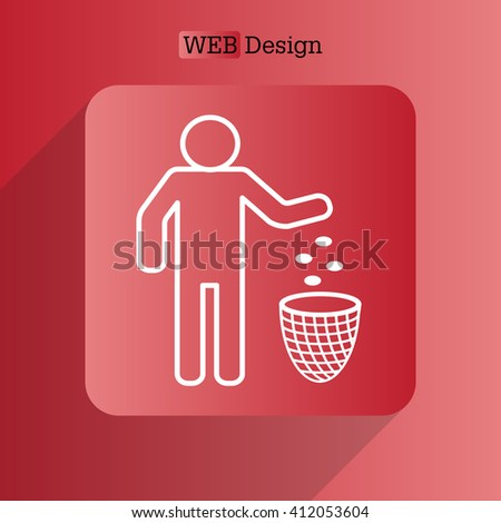 Silhouette of a man, throwing garbage in a bin, line icon - stock vector
